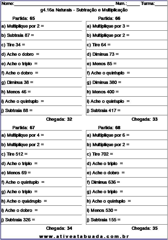 Atividade g4.16a Naturais - Subtração e Multiplicação