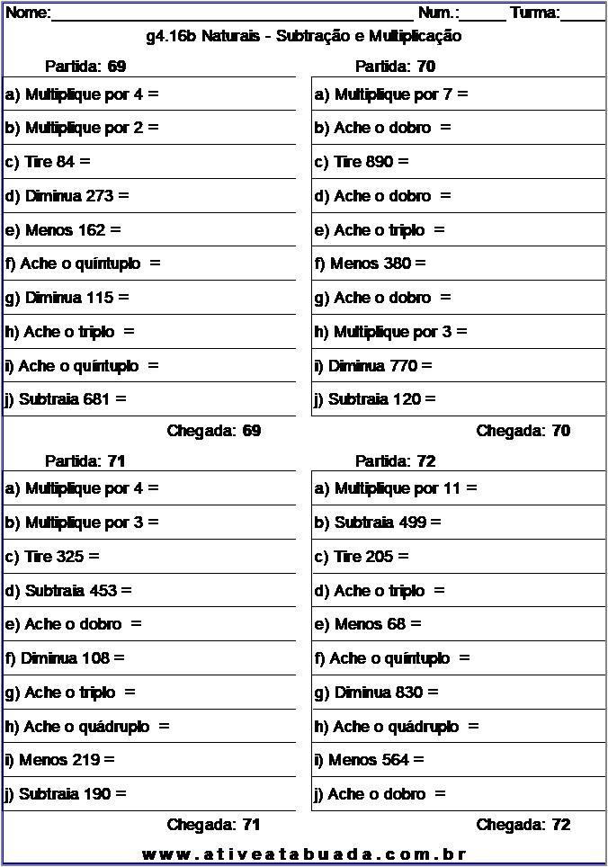 Atividade g4.16b Naturais - Subtração e Multiplicação