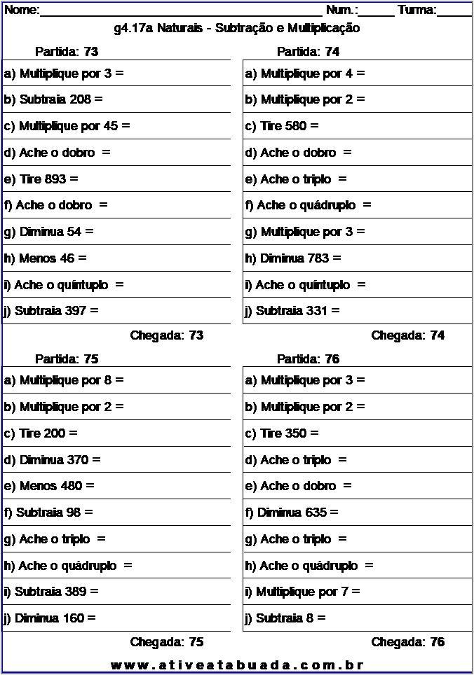 Atividade g4.17a Naturais - Subtração e Multiplicação