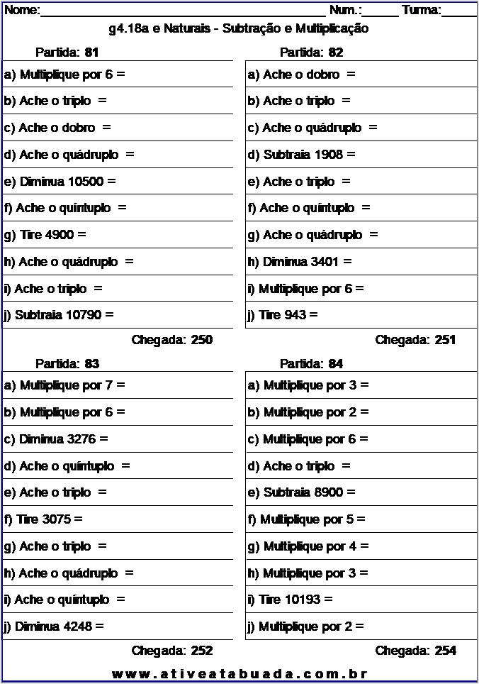 Atividade g4.18a e Naturais - Subtração e Multiplicação