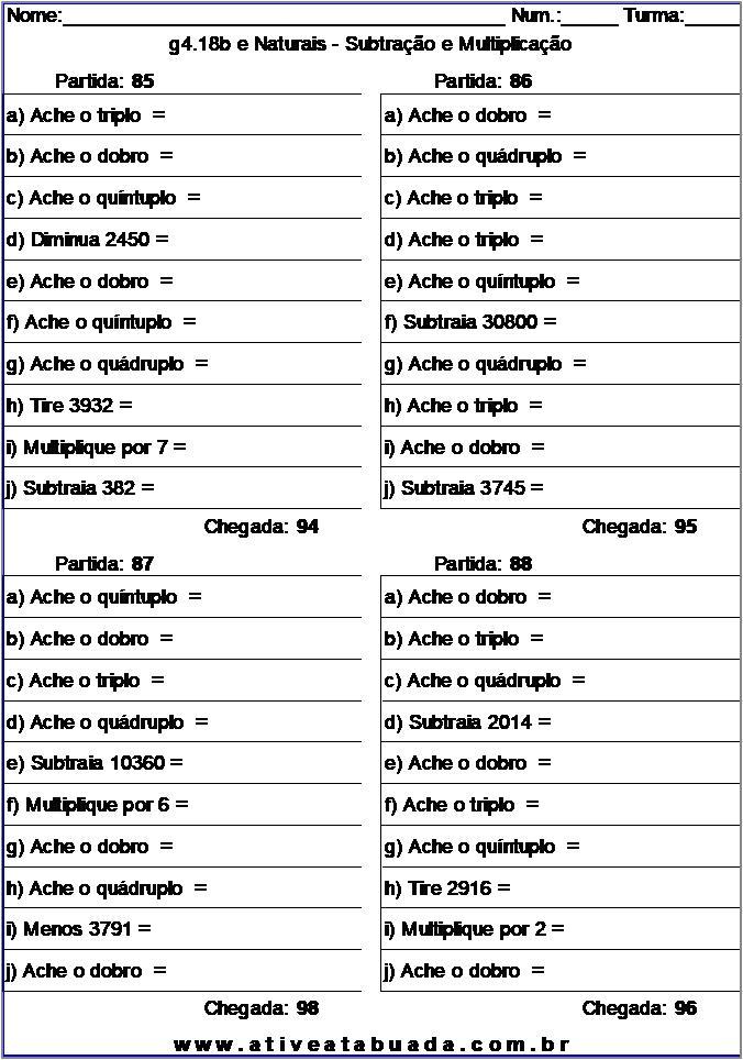Atividade g4.18b e Naturais - Subtração e Multiplicação
