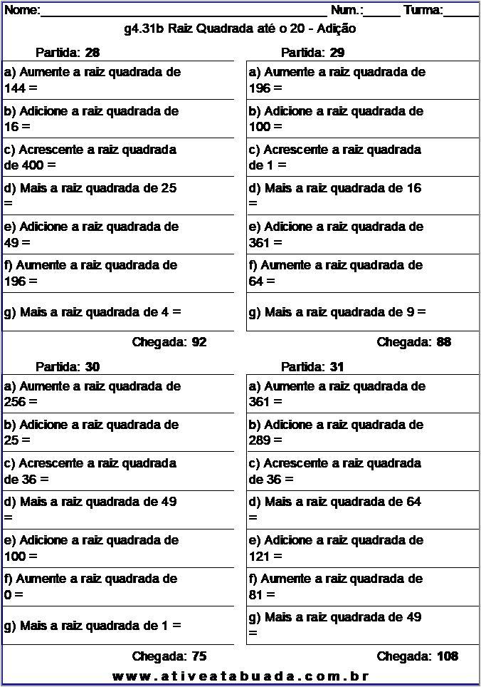 Atividade g4.31b Raiz Quadrada até o 20 - Adição