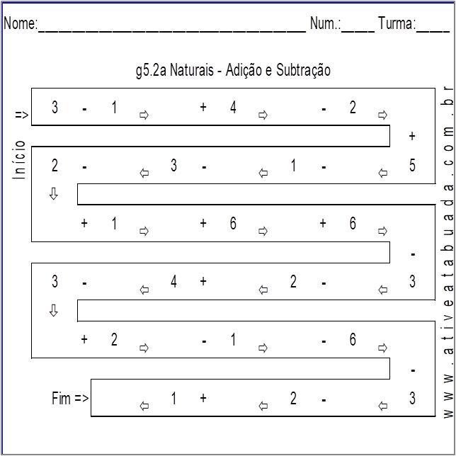 Atividade g5.2a Naturais - Adição e Subtração