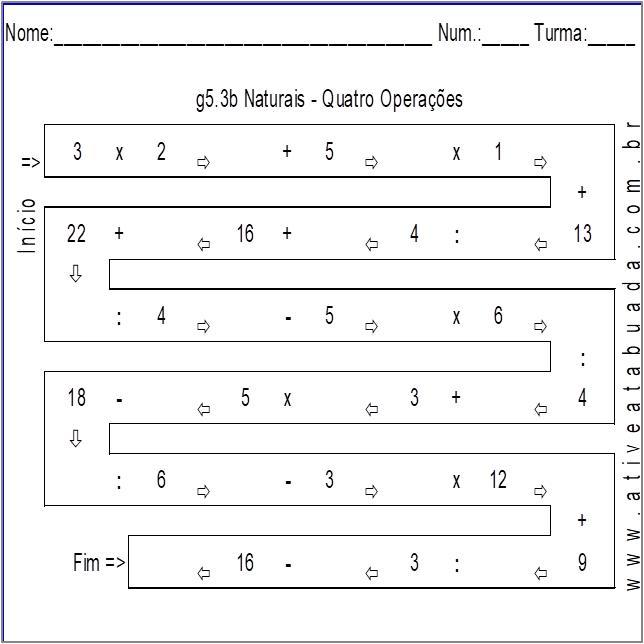 Atividade g5.3b Naturais - Quatro Operações
