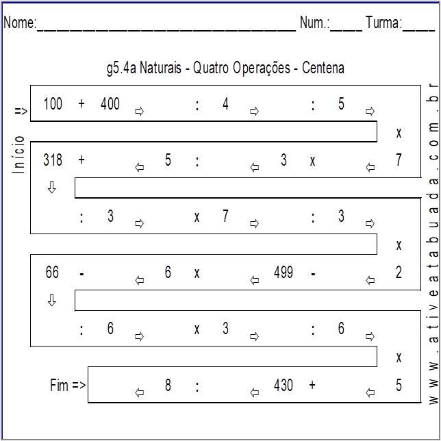 Atividade g5.4a Naturais - Quatro Operações - Centena