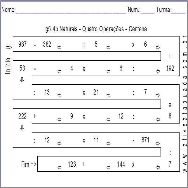 Atividade g5.4b Naturais - Quatro Operações - Centena