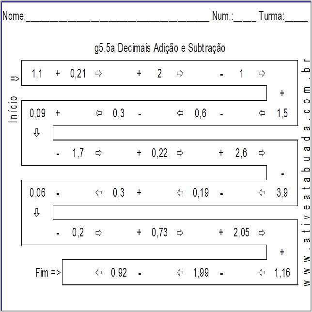 Atividade g5.5a Decimais Adição e Subtração