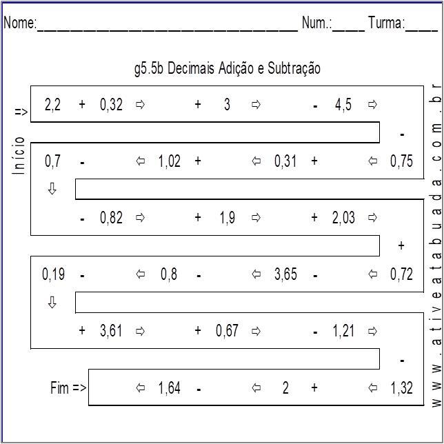 Atividade g5.5b Decimais Adição e Subtração