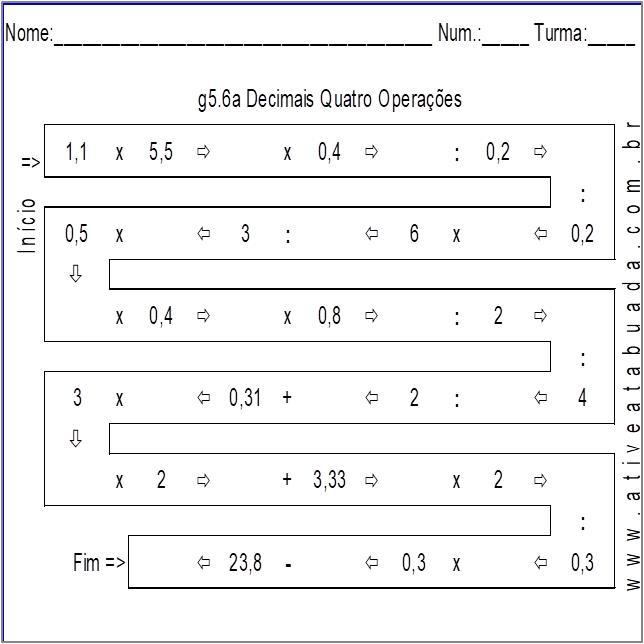 Atividade g5.6a Decimais Quatro Operações
