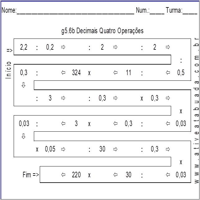 Atividade g5.6b Decimais Quatro Operações
