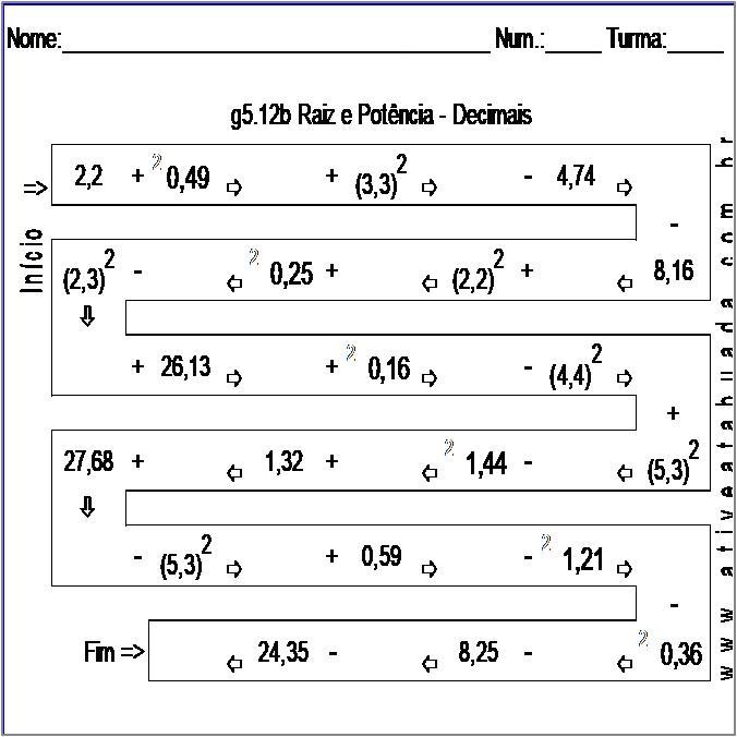 Atividade g5.12b Raiz e Potência - Decimais
