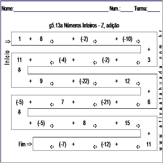 Atividade g5.13a Números Inteiros - Z, adição