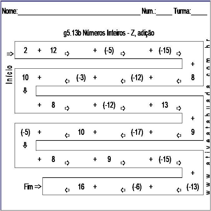 Atividade g5.13b Números Inteiros - Z, adição