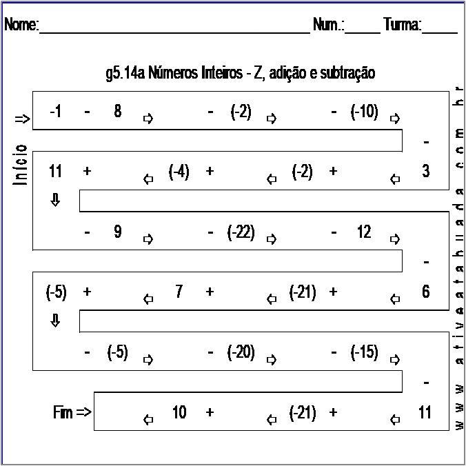 Atividade g5.14a Números Inteiros - Z, adição e subtração