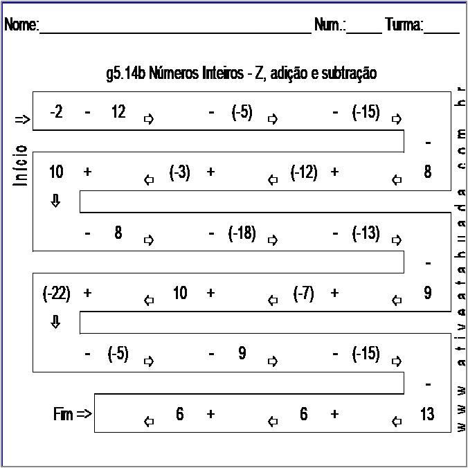 Atividade g5.14b Números Inteiros - Z, adição e subtração