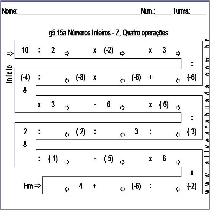 Atividade g5.15a Números Inteiros - Z, Quatro operações