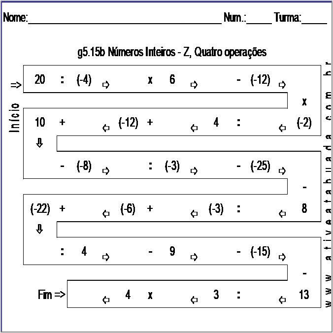 Atividade g5.15b Números Inteiros - Z, Quatro operações