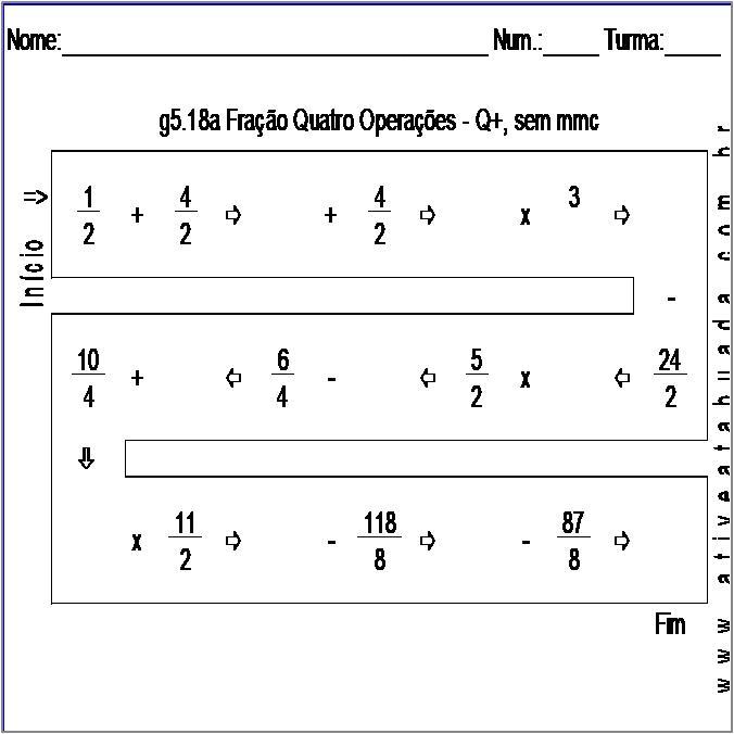 Atividade g5.18a Fração Quatro Operações - Q+, sem mmc