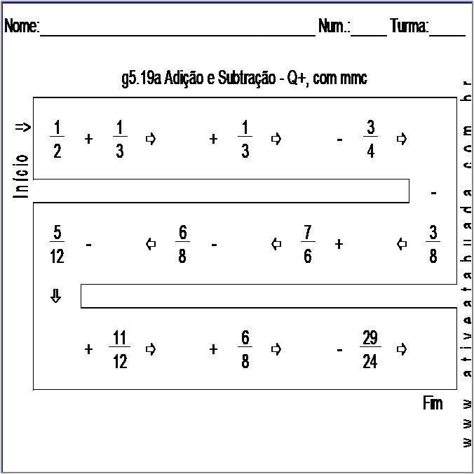 Atividade g5.19a Adição e Subtração - Q+, com mmc