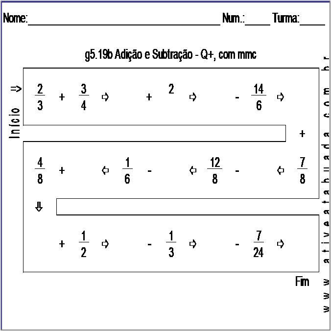 Atividade g5.19b Adição e Subtração - Q+, com mmc