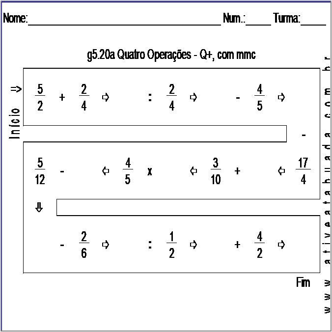 Atividade g5.20a Quatro Operações - Q+, com mmc