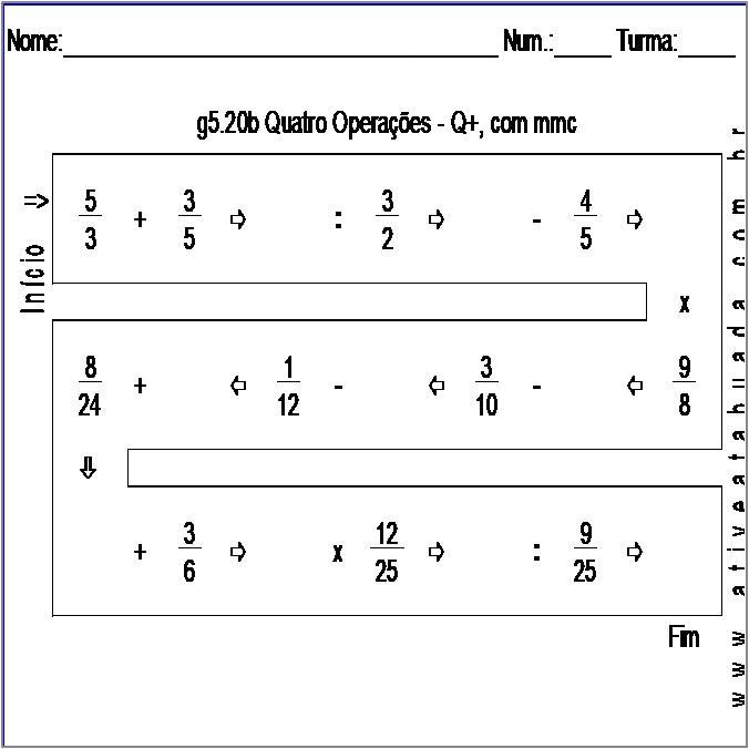 Atividade g5.20b Quatro Operações - Q+, com mmc