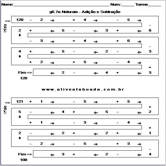 Atividade g6.7a Naturais - Adição e Subtração