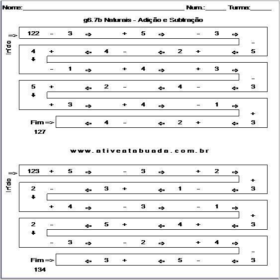Atividade g6.7b Naturais - Adição e Subtração