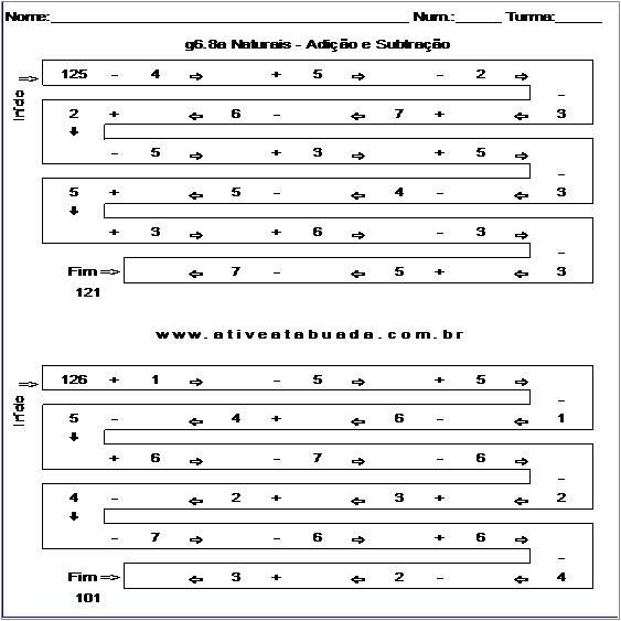 Atividade g6.8a Naturais - Adição e Subtração