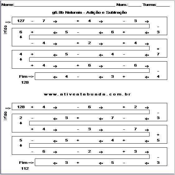 Atividade g6.8b Naturais - Adição e Subtração