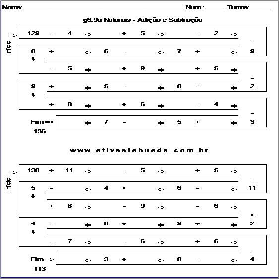 Atividade g6.9a Naturais - Adição e Subtração