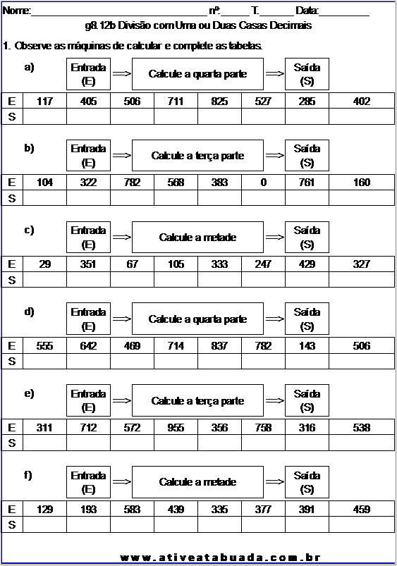 Atividade g8.12b Divisão com Uma ou Duas Casas Decimais