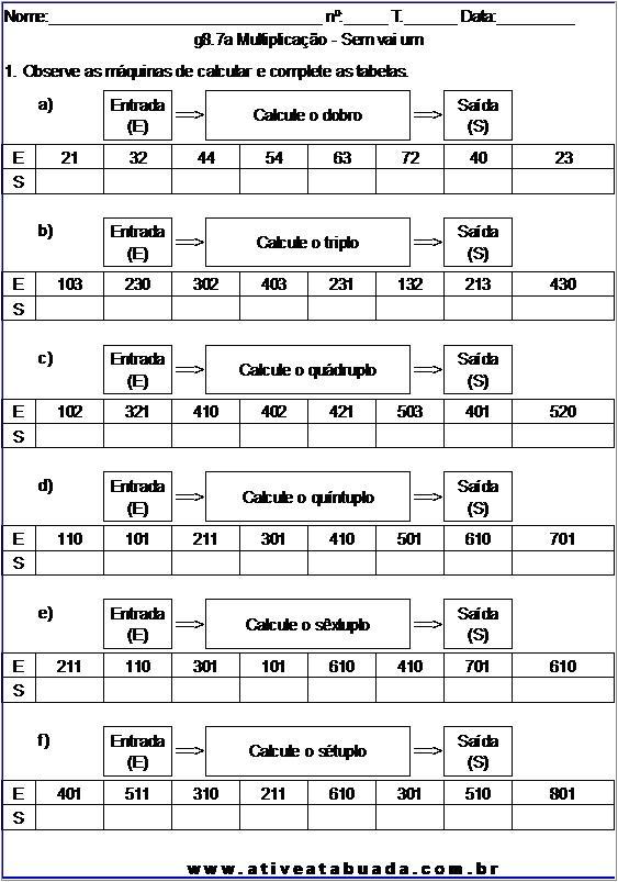 Atividade g8.7a Multiplicação - Sem vai um