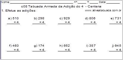c08 Tabuada Armada da Adição do 4 - Centena
