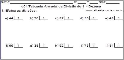 d01 Tabuada Armada da Divisão do 1 - Dezena