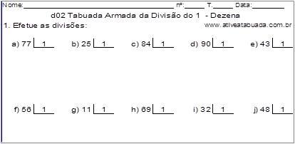 d02 Tabuada Armada da Divisão do 1 - Dezena