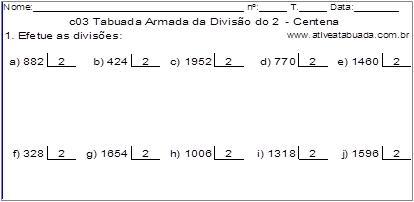 c03 Tabuada Armada da Divisão do 2 - Centena