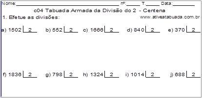 c04 Tabuada Armada da Divisão do 2 - Centena