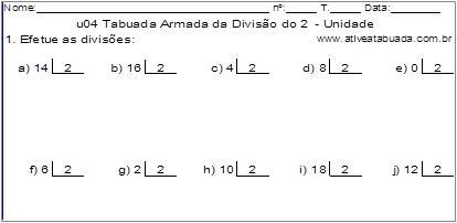 u04 Tabuada Armada da Divisão do 2 - Unidade