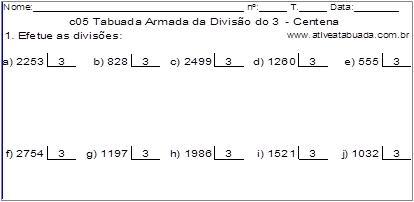 c05 Tabuada Armada da Divisão do 3 - Centena