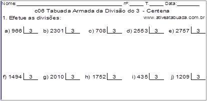 c06 Tabuada Armada da Divisão do 3 - Centena