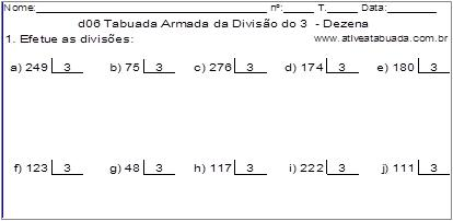 d06 Tabuada Armada da Divisão do 3 - Dezena