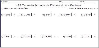 c07 Tabuada Armada da Divisão do 4 - Centena