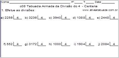 c08 Tabuada Armada da Divisão do 4 - Centena