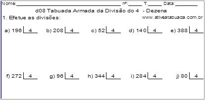d08 Tabuada Armada da Divisão do 4 - Dezena