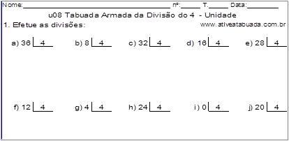 u08 Tabuada Armada da Divisão do 4 - Unidade