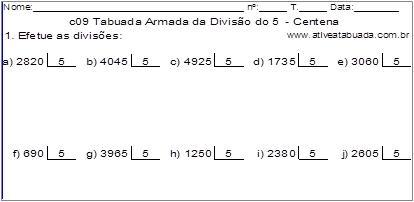 c09 Tabuada Armada da Divisão do 5 - Centena