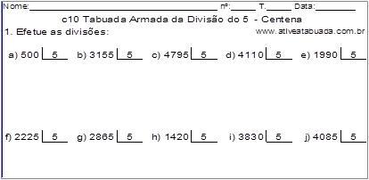 c10 Tabuada Armada da Divisão do 5 - Centena