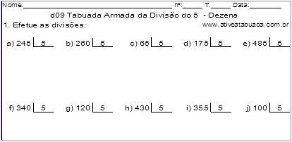 d09 Tabuada Armada da Divisão do 5 - Dezena
