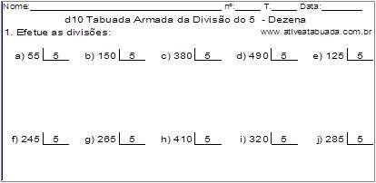 d10 Tabuada Armada da Divisão do 5 - Dezena